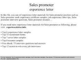 Sales promoter experience letter In this file, you can ref experience  letter materials for Sales ...