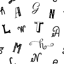 Seamless Pattern With Black Letters Alphabet Print