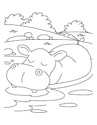 Small Picture Hippopotamus in relaxing mood coloring pages Download Free
