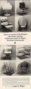 eames chair vintage for sale. two eames chairs are used, along with some other classics, to sell carpet by magee, in this vintage advertisement chair for sale y