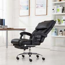 executive office chair ergonomic armchair reclining highback leather footrest ebay reclining office chair48
