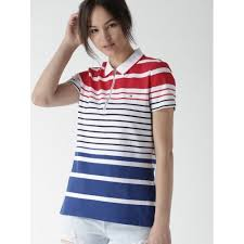 tommy hilfiger women white blue striped polo collar t shirt
