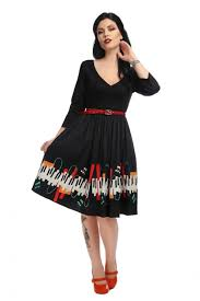 Collectif Billie Jazz Piano langarm Kleid kaufen - Lucky Lola