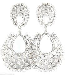 black chandelier clip on earrings big crystal rhinestone chandelier clip on earrings 3 costume party pageant black chandelier clip on earrings