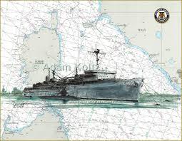 Us Navy Nautical Charts Uss Emory S Land As 39 Submarine Tender Print On Sardinia
