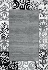 black and white damask rug bath small