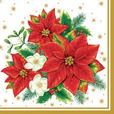 Servietten 33x33 Cm Poinsettia Bouquet White Bei