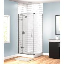 3 piece corner hinged frameless shower enclosure in stainless