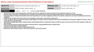 laser technician job resume
