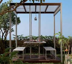 unique outdoor canopy design with modern benches also metal frames