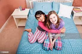 Teen girls in pajamas