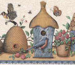 Vintage Birdhouses Nests Blue Red Brown ...