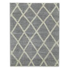 diamond hand knotted rug grey