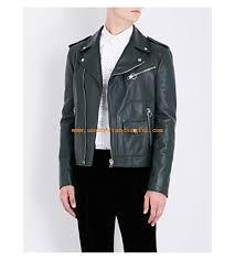 men coats jackets leather jackets bally patch pocket leather biker jacket ivy