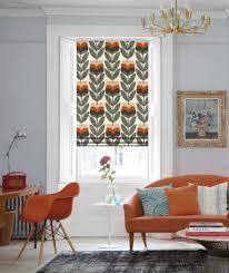 Paula Kiely Designer Orla Kiely Rosebud Orange Roman Blinds Orla Kiely Blinds