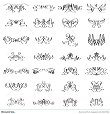 Set Calligraphic Line Design Illustrator On White Background