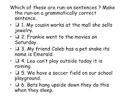 Sentence Fragments Sentence Fragments And Run Ons