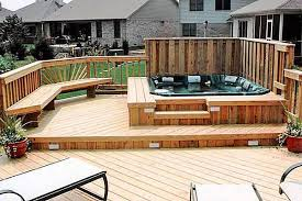 wood hot tub surround and deck with seating and privacy wall