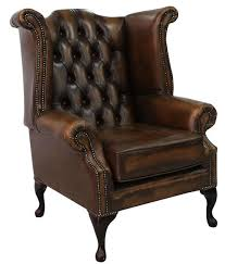 Belvedere Chesterfield Antique Leather Queen Anne Armchair Queen Anne Armchair G23