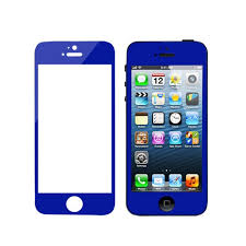 mirror effect color tempered glass front back for iphone 5 5s blue 59