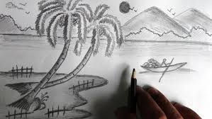 drawing pictures of nature step by easy natural scenery peion beautiful pencil sketches and page inspiration