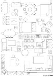 floor plan furniture symbols. Standard Furniture Symbols Used In Architecture Plans Icons Set, Graphic Design Elements,home Planning Floor Plan O