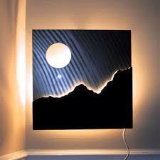 attractive ideas lighted wall art modern metal sculpture panels with timer batman diy