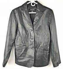 details about new york company leather jacket coat blazer medium black on front solid