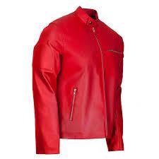 designer elegant mens red leather biker jacket