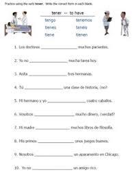 Spanish Tener Chart Tener Expressions Worksheet Worksheet Fun And Printable