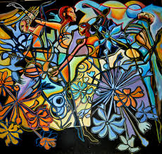 african american artist corey barksdale semi abstract art painting