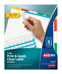 Office Depot Divider Templates Office Depot Avery Print Apply Clear Label Dividers With Index Maker Easy Apply Printable Label Strip And Color Tabs 5 Tab Multicolor Pack Of