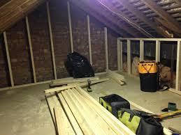 loft storage. mini loft conversion - day 2 build walls up and create partition doorway storage