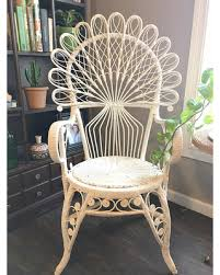 Deals on Vintage White Rattan Peacock ArmchairOrnate Boho Peacock