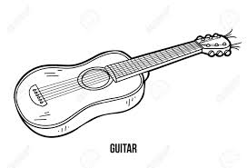 coloring book for children education game instruments guitar stock vector