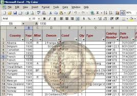 inventory software in excel type set coin collecting