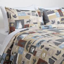 printed flannel duvet cover brown maple