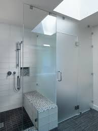 tile shower bench bathroom contemporary with glass tile sky light