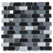 black grey white glass mix stainless steel random brick mosaic tile stone center