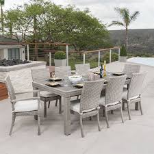 moroccan garden furniture. RST Brands Cannes 9-Piece Brown Wood Frame Wicker Patio Dining Set With Moroccan Cream Garden Furniture E