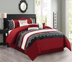 7 Piece King Burgundy/Black/White Comforter Set