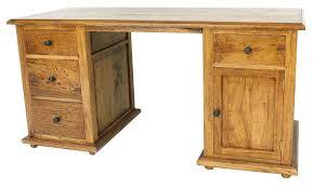 twin pedestal mango wood desk