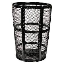 a sy wire mesh metal barrel trashcan encased in zinc to add weather tuff outdoor protection