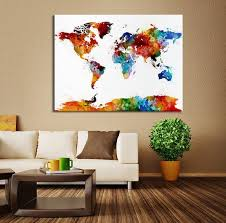 >colored watercolor world map canvas wall art colored world map wall  colored watercolor world map canvas wall art colored world map wall decor world map