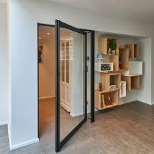 pivot hinge door. indoor door / pivoting with offset axis aluminum glazed - skd47 black | 180° hinge pivot