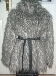bnwt primark size 8 or 10 grey white fluffy feathery yeti faux fur coat jacket