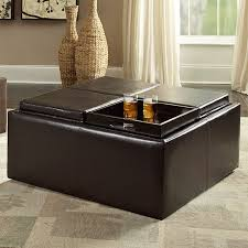 cocktail storage ottoman with 4 trays