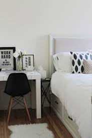 another option is to bring desk and chair beside the bed a time iron side table fits snuggly in between a white contemporary desk and bed bedroom desk
