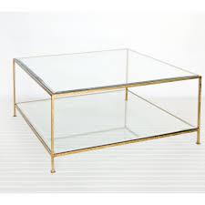 glass brass coffee table