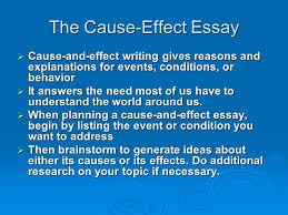cause and effect by mrs topliff cause and effect  cause the  the cause effect essay  cause and effect writing gives reasons and explanations
